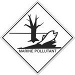 DOT PLACARD (FISH PICTO) MARINE POLLUTANT, Choose from 4 Materials: Press on Vinyl, Rigid Plastic, Aluminum or Magnetic.