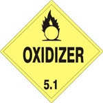 DOT PLACARD - OXIDIZER - CLASS 5.1, Choose from 4 Materials: Press on Vinyl, Rigid Plastic, Aluminum or Magnetic.