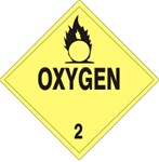 DOT PLACARD - OXYGEN - CLASS 2, Choose from 4 Materials: Press on Vinyl, Rigid Plastic, Aluminum or Magnetic.