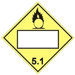 OXIDIZER (BLANK 4 DIGIT BOX) DOT PLACARD CLASS 5.1 - Available in Press on Vinyl, Plastic, Aluminum and Magnetic