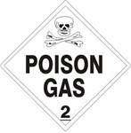 DOT PLACARD - POISON GAS - CLASS 2, Choose from 4 Materials: Press on Vinyl, Rigid Plastic, Aluminum or Magnetic.