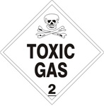 DOT PLACARD - TOXIC GAS - CLASS 2, Choose from 4 Materials: Press on Vinyl, Rigid Plastic, Aluminum or Magnetic.