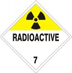 DOT PLACARD - RADIOACTIVE - CLASS 7, Choose from 4 Materials: Press on Vinyl, Rigid Plastic, Aluminum or Magnetic.