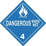 DOT PLACARD - DANGEROUS WHEN WET - CLASS 4, Choose from 4 Materials: Press on Vinyl, Rigid Plastic, Aluminum or Magnetic.