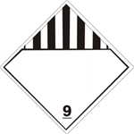 DOT PLACARD - BLANK SPACE CLASS 9 (MISCELLANEOUS DANGEROUS GOODS), Choose from 4 Materials: Press on Vinyl, Rigid Plastic, Aluminum or Magnetic.