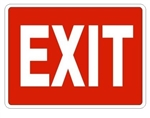 RED EXIT Sign - Choose 7 X 10 - 10 X 14, Self Adhesive Vinyl, Plastic or Aluminum.