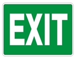 Green EXIT Sign - Choose 7 X 10 - 10 X 14, Self Adhesive Vinyl, Plastic or Aluminum.