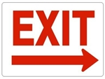 EXIT arrow right Sign - Choose 7 X 10 - 10 X 14, Self Adhesive Vinyl, Plastic or Aluminum.