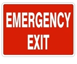 EMERGENCY EXIT Sign - Choose 7 X 10 - 10 X 14, Self Adhesive Vinyl, Plastic or Aluminum.