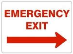 EMERGENCY EXIT arrow right Signs - Choose 7 X 10 - 10 X 14, Self Adhesive Vinyl, Plastic or Aluminum.