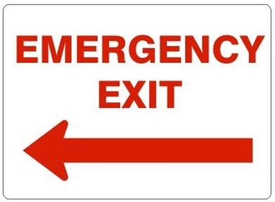 EMERGENCY EXIT, Left Arrow Sign