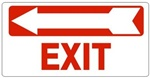 EXIT arrow left Sign - Available 6.5 X 14 Self Adhesive Vinyl, Plastic and Aluminum.