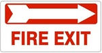 FIRE EXIT arrow right Sign - Available 6.5 X 14 Self Adhesive Vinyl, Plastic and Aluminum.