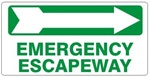 EMERGENCY ESCAPEWAY arrow right Sign - Available 6.5 X 14 Self Adhesive Vinyl, Plastic and Aluminum.