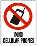 NO CELL PHONES Symbol Sign - Choose 7 X 10 - 10 X 14, Self Adhesive Vinyl, Plastic or Aluminum.