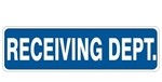 RECEIVING DEPT. Sign - Choose 4 X 20 Self Adhesive Vinyl, Plastic or Aluminum.