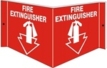 FIRE EXTINGUISHER 3-Way Wall Mount Sign,180° design visible from either side as well as from the front.