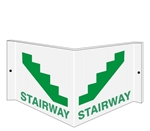 STAIRWAY 3-Way Sign, Unique 180° design visible from either side as well as from the front