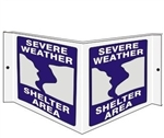 SEVERE WEATHER SHELTER AREA 3-Way Wall Projection Sign, Unique 180° design visible from either side as well as from the front