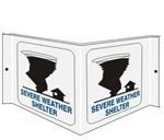 3-Way SEVERE WEATHER SHELTER Wall Projection Sign, Unique 180° design visible from either side as well as from the front