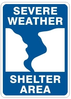 Severe Weather Shelter Area Evacuation Signs