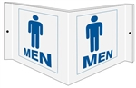 Wall Projection MEN RESTROOM 3 way Sign, Unique 180° design visible from either side as well as from the front