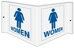 Wall Projection WOMEN RESTROOM 3 way Sign, Unique 180° design visible from either side as well as from the front