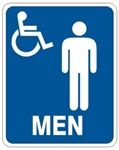 MEN RESTROOM HANDICAP ACCESSIBLE Sign - Choose 7 X 10 - 10 X 14, Self Adhesive Vinyl, Plastic or Aluminum.