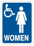 HANDICAP ACCESSIBLE WOMEN'S RESTROOM Sign - Choose 7 X 10 - 10 X 14, Self Adhesive Vinyl, Plastic or Aluminum.