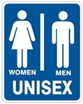 UNISEX RESTROOM Sign - Choose 7 X 10 - 10 X 14, Self Adhesive Vinyl, Plastic or Aluminum.