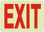 Glow's in the Dark EXIT Sign - Choose 7 X 10 - 10 X 14, Self Adhesive Vinyl, Plastic or Aluminum.