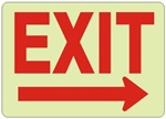 Glow in the Dark EXIT Arrow Right Sign - Choose 7 X 10 - 10 X 14, Self Adhesive Vinyl, Plastic or Aluminum.