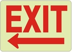 EXIT arrow left Glow in the Dark Sign - Choose 7 X 10 - 10 X 14, Self Adhesive Vinyl, Plastic or Aluminum.