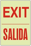 Bilingual Glow in the Dark EXIT Sign - Choose 7 X 10 - 10 X 14, Self Adhesive Vinyl, Plastic or Aluminum.
