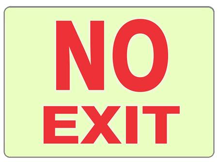 NO EXIT Glow in the Dark Signs - Choose 7 X 10 - 10 X 14, Self Adhesive Vinyl, Plastic or Aluminum.