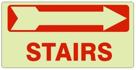 STAIRS arrow right Glow in the Dark Signs - Available 6.5 X 14 Self Adhesive Vinyl, Plastic and Aluminum.