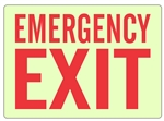 "Glow in the Dark EMERGENCY EXIT Sign - Choose 7"" X 10"" or 10"" X 14"" Pressure Sensitive Vinyl, Rigid Plastic or Aluminum"