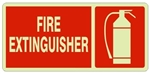FIRE EXTINGUISHER Glow in the Dark Sign - Available 6.5 X 14 Self Adhesive Vinyl, Plastic and Aluminum.
