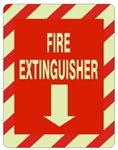 FIRE EXTINGUISHER Glow in the Dark Sign - Choose 7 X 10 - 10 X 14, Self Adhesive Vinyl, Plastic or Aluminum.