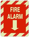FIRE ALARM Glow in the Dark Sign - Choose 7 X 10 - 10 X 14, Self Adhesive Vinyl, Plastic or Aluminum.