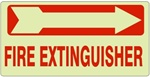 FIRE EXTINGUISHER (arrow right) Glow in the Dark Sign - Available 6.5 X 14 Self Adhesive Vinyl, Plastic and Aluminum.
