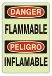 Bilingual FLAMMABLE Glow in the Dark Sign - Choose 7 X 10 - 10 X 14, Self Adhesive Vinyl, Plastic or Aluminum.
