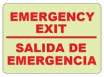 Bilingual Glow in the Dark EMERGENCY EXIT Sign - Choose 7 X 10 - 10 X 14, Self Adhesive Vinyl, Plastic or Aluminum.