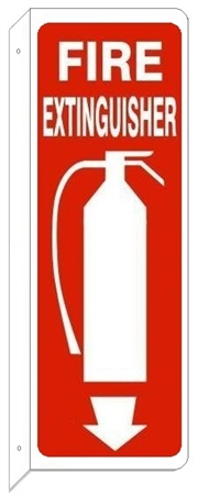 FIRE EXTINGUISHER w/graphic 4 X 12 (2-Way) Flanged Sign, Choose Aluminum or Plastic Construction
