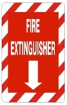 Striped Border FIRE EXTINGUISHER Sign - Choose 7 X 10 - 10 X 14, Self Adhesive Vinyl, Plastic or Aluminum.