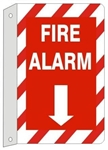 Striped Border 2-Way FIRE ALARM Flanged Sign, Available 7 X 10 or 10 X 14 Plastic or Aluminum