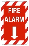 Striped Border FIRE ALARM Sign - Choose 7 X 10 - 10 X 14, Self Adhesive Vinyl, Plastic or Aluminum.