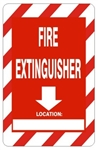 Arrow Down FIRE EXTINGUISHER LOCATION Sign - Choose 7 X 10 - 10 X 14, Self Adhesive Vinyl, Plastic or Aluminum.