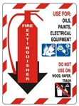 Class Marker FIRE EXTINGUISHER Sign, FOR OILS, PAINTS, ELECTRICAL EQUIPMENT Sign - Choose 7 X 10 - 10 X 14, Self Adhesive Vinyl, Plastic or Aluminum.