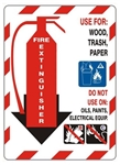 Class Marker FIRE EXTINGUISHER Sign, USE FOR: WOOD, TRASH, PAPER Sign, Choose 7 X 10 - 10 X 14, Self Adhesive Vinyl, Plastic or Aluminum.